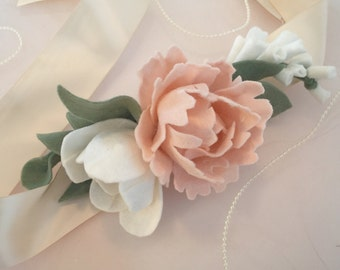 Floral accessory for sash - wedding accessory - gown accessory - sash - heirloom