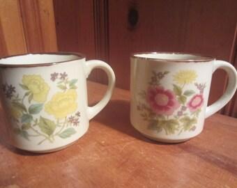 2 Vintage Japan Ceramic Stoneware 10oz Brown Coffee Cups Mugs Pink Yellow Floral