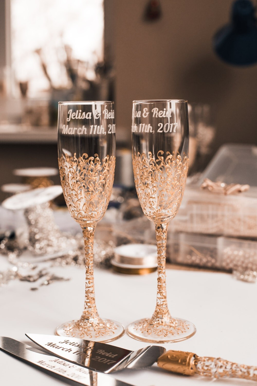 personalized wedding glasses toasting flutes gold glasses