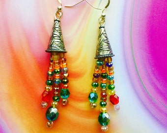 Boho Chic Silver Drop Earrings,Multicolor Aurora Borealis Crystals Dangle Earrings, .925 Sterling Silver Jewelry,Handmade Sparkling Jewels