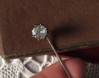 XIX PIN BROOCH Silver White Stone, box, hallmarks-authentic french Antik - Very Rare!