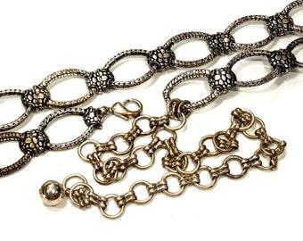 VINTAGE: 1980's - Chicos Metal Linked Belt - Chain Metal Belt - Silver Metal Belt - (19-B6-00007041)