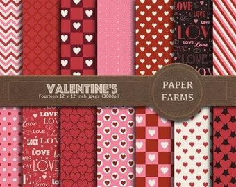 Valentine's day digital paper, love digital paper, hearts digital paper, scrapbook paper, digital scrapbooking, instant download
