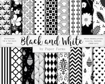 Black white digital paper, black white scrapbook paper, black white backgrounds, black white digital patterns, black and white, geometric