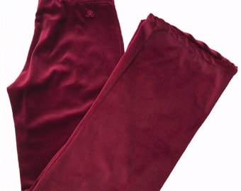 Women's Burgundy J.Lo by Jennifer Lopez Velour Pants