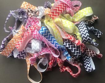 Chevron Elastic Hair Ties - Set of 25