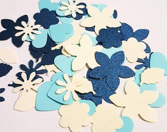 Blue Glitter Confetti Paper Flowers for baby shower, bridal shower, kids party, wedding, scrapbooking, card making,