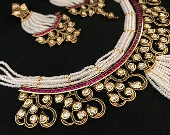 Fine Kundan & Pearl Necklace | Cubic Zirconia Necklace | Bib Necklace