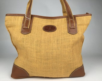 Burlap bag, genuine leather bag,  burlap leather bag.