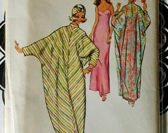1973 Simplicity 5720 Misses Caftan, Slip and Turban Size Medium 12-14 Uncut FF Sewing Pattern ReTrO Hostess!