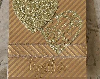 Card, Love, Hand crafted, Hearts, 3D effect, Keepsake, Gold, Kraft paper, striped, glitter, foil,acid free and lignin free cardstock