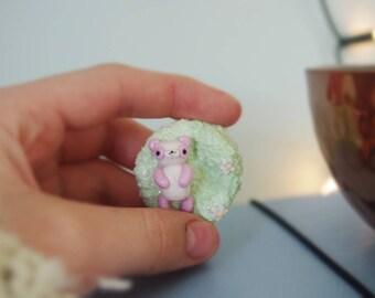 Adorable, handmade, polymer clay, pastel pink panda scene figure