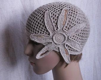 Crochet linen hat with flower, grey retro linen hat for women, 1930s hat, gray linen summer hat, sun hat, net-like beach hat, holiday hat