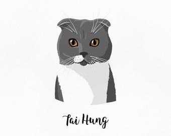 Pet art. Cat lover gift. Cat portrait. Pet illustration. Custom pet portrait. Cat artwork. Cat illustration. Custom drawing. Custom portrait