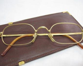 vintage cartier deimios eyewear glasses with original Cartier case gold color