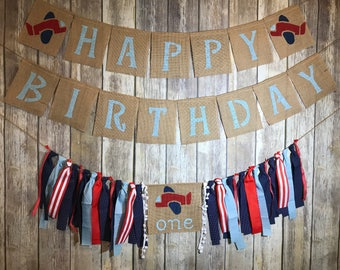 Custom Made Birthday Banner set, High Chair Birthday banner, Airplane Birthday Banner Set, Airplane Banner, Airplane First Birthday