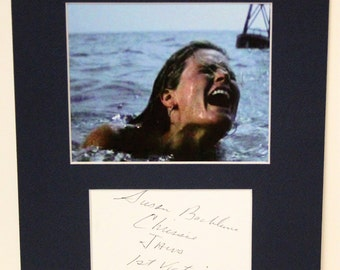 Susan Backlinie Signed Autograph JAWS Index Card and Blue Mat ready to frame 8x10, First Victim Susan Backlinie (Chrissie)