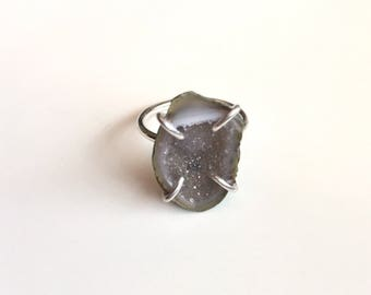 Mini Geode Ring | Sterling Silver Ring | Geode Ring | Gemstone Ring | Size 7