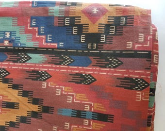 Aztec Print Large Cotton Fabric Remnant