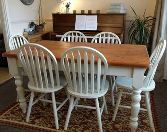 Farmhouse Antique Solid Table and Six Chairs Painted 'Farrow and Ball' Shabby Chic