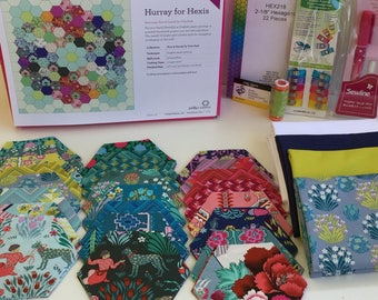 Hurray For Hexies Quilt Kit featuring Splendor by Amy Butler