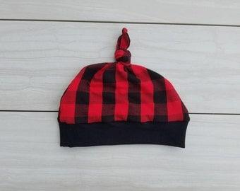 Baby  beanie - Top knot hat - baby beanie - buffalo plaid