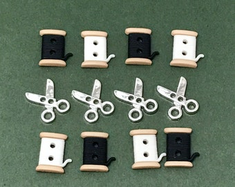 Sewing Buttons - Dress it Up Sew Cute Spools & Scissors - Cotton Reels -  Gift for Sewers - Mother's Day - Haberdashery - Scrapbook