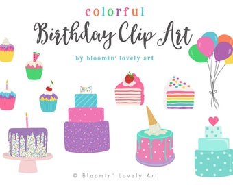Birthday Clip Art - Cake Clip Art - Birthday Clipart - Party Clip Art - Dessert Clip Art
