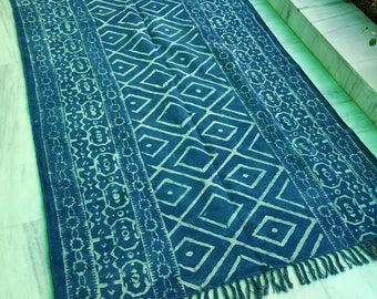 Indigo floor runner, blue carpet, handprinted rug, CRI02