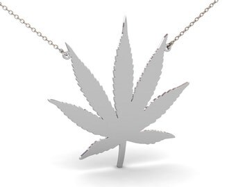 Cannabis Leaf Necklace in Sterling Silver Metal, Leaf Necklace, Marijuana Leaf Necklace, Cannabis Leaf Pendant, Birthday Gift