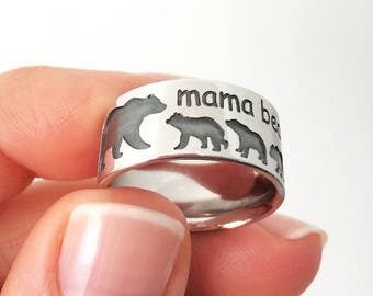 Mama Bear Band Ring in Sterling Silver Metal, Bear Ring, Mama Bear Jewelry, Wedding Band Ring, Engagement Ring, Animal Ring, Gift for Mom