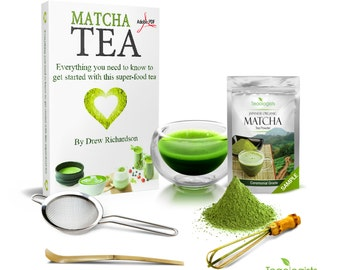 Matcha Green Tea and Teaware Tasting Box Gift Set for Authentic Japanese Tea Ceremony by Teaologists - Unique Present with Digital eBook
