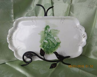 German green Rosenthal Printemp platter with Maiden in the Field