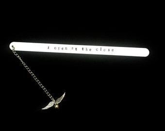 Harry Potter inspired Bookmark- Golden Snitch- I open at the close
