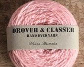 Hand Dyed 5ply Organic NZ Merino Knitting Yarn 160m /50g 'Rose'