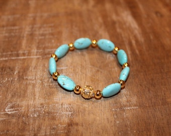 Turquoise Blue and Gold Stretch Bracelet