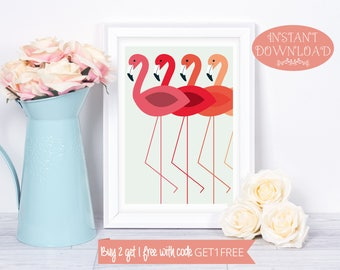 Printable Wall Art, Flamingo Wall Art, Wall Art Prints, Flamingo Print, Wall Art, Printables, Minimalist Print, Modern Art, Instant Download