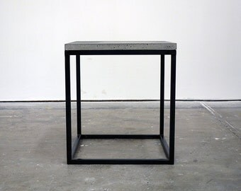 handmade steel framed table with concrete top (steel framed stool)