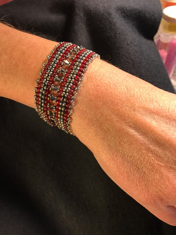 NO 107 Hand Beaded Crystal and Glass Bracelet