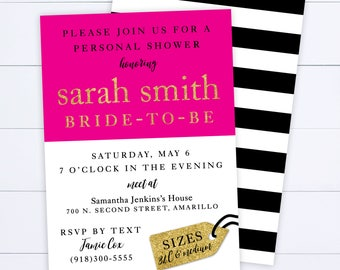 Personal Shower Invitation - Bachelorette - Wedding - Bride - Ladies Night - Panties - Bras - Lingerie - Black and White Striped - Hot Pink
