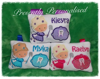 """Personalised Embroidered Tooth Fairy Pillow with Pockets and a spare wooden tooth 5x7"""""""