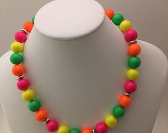 BIG and BOLD neon 12mm Swarovski pearl necklace and earring set.