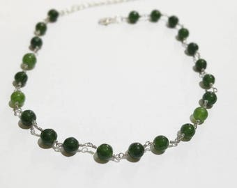 Green Gemstone Beaded Necklace - Everyday Necklace- Bohemian Hobo Style Necklace