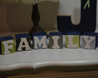 Wooden blocks with letters