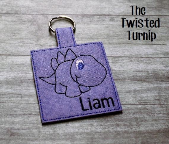 Liam Dinosaur Kid's Boys Key Fob Key Chain Bag Tag Zipper Pull Snap Tab Embroidery Design In The Hoop ITH  5x7