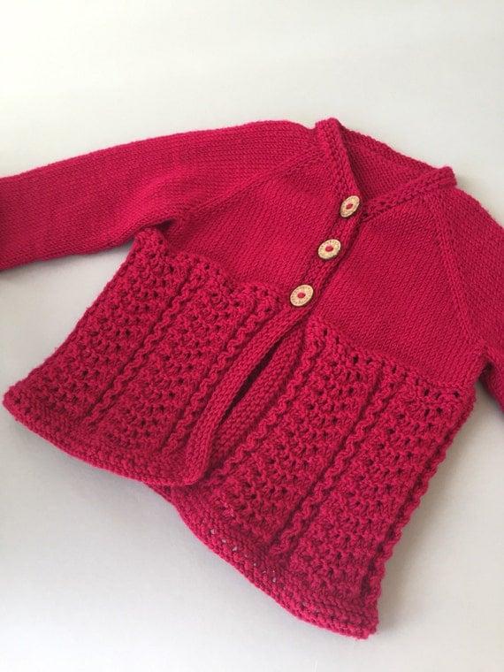 Merino Wool Knitted Toddler Girl Cardigan, 2T