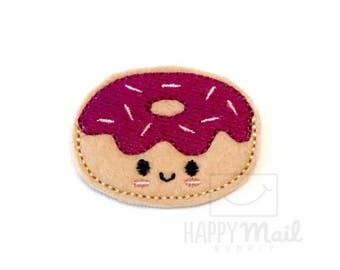 Donut Felties Doughnut Felties Purple Frosting Kawaii - CUT Felties - Set of 4