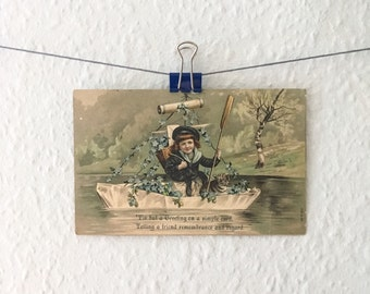 Antique cat in a boat postcard - forget me nots, flowers, surreal, little boy, sailor, nautical, remembrance, embossed, old, animal, strange