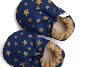 baby shoes, baby booties, blue stars, soft sole shoes, booties