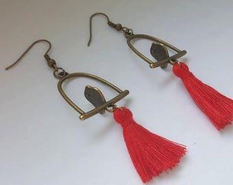 Earrings swing with birds and tassels